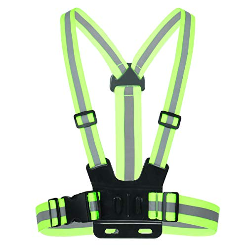 YOOJIA Chest Mount Harness Chesty Strap Adjustable Video Camera Chest Strap with High Visibility Reflective Strips for Running Walking Jogging Cycling Green One Size