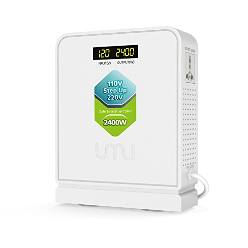 110V 220V Step Up Voltage Converter 2400W UMI Heavy Duty with 2 outlets use 220V Asia Euro Appliance in US