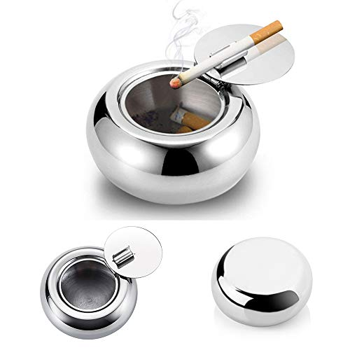 Ashtray with Lid, Stainless Steel Cigarette Cigar Ashtray Bin for Indoor or Outdoor
