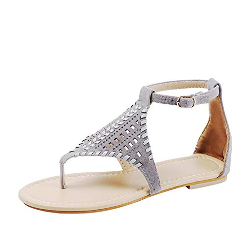 2021 Nuevo Sandalias Mujer Verano Planas Moda Sandalias de Vestir Playa Chanclas para Mujer Tejido Zapatos Sandalias de Punta Abierta Roma casual Sandalias Fiesta Cómodo Flip flop