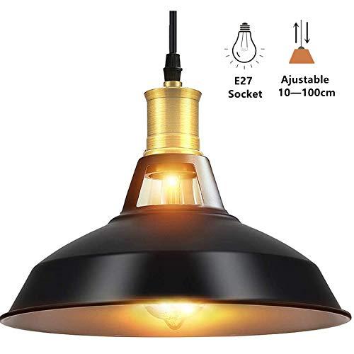 Asvert Pendelleuchte Vintage Loft Vintage Hängeleuchte E27 Leuchtmittel Schwarz Eisen Lampenschirm für Café Restaurant Esszimmer Küche Flur Jugendzimmer usw. (Enthält keine Glühbirnen)