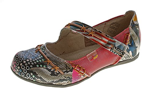 TMA Leder Damen Ballerinas Echtleder Muster variieren Comfort Schuhe 5085 Sandalen Rot Gr. 39