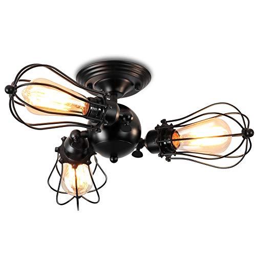 ENCOFT Vintage Deckenleuchte Industrie Verstellbare Steckdose Metalldrahtkäfig 3 flammig E27 Deckenlampe ohne Glühbirne(Style 8, 3)