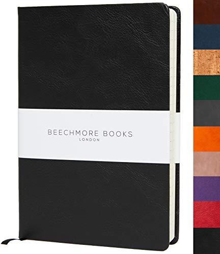 Liniertes Notizbuch - Premium A5 Journal von Beechmore Books | Festeinband aus veganem Leder, Dicke: 120 g/qm cremefarbenes Papier, Notizbuch in der Geschenkbox, 21 x 15 cm Dunkelschwarz
