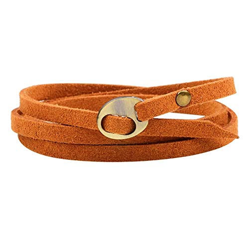 KJFUN Bohemian Style SieradenMeerlagigeWrap Lederen Armband Mannen Vrouwen EmbossingLetter Armband