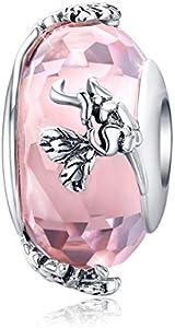 Abalorio de cristal de Murano con forma de mariposa en de plata de ley 925, abalorio rosa compatible con pulsera y brazalete Pandora
