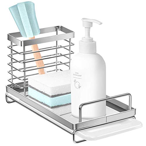 Nieifi Sink Caddy Organizer with Removable Drip Tray, Rust...