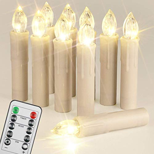 Flameless Warm White Electric LED Taper Candles with Remote,Set of 10, Mini Dimmable Flickering Wax,Window Lights,Battery Powered,Halloween's Day Gift,Clip for Chandelier,Christmas Tree Decoration