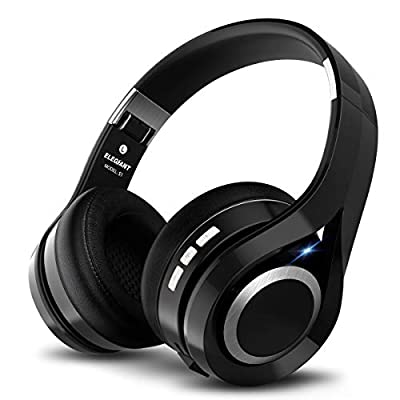 Foldable Headset, ELEGIANT Wireless Bluetooth Headphones with Microphone Stereo USB Charging Headphones 16 Hours Play Handsfree HiFi with Mic/3,5mm Audio AUX for Pad PC Laptops Tablets Smartphones from Elegiant