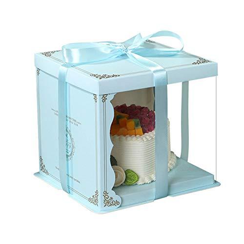 geschenkdoos LKU 10 inch taartdoos transparant rond transparant transparant taak bloem geschenkdoos Lego geschenk, dubbeldeks blauw