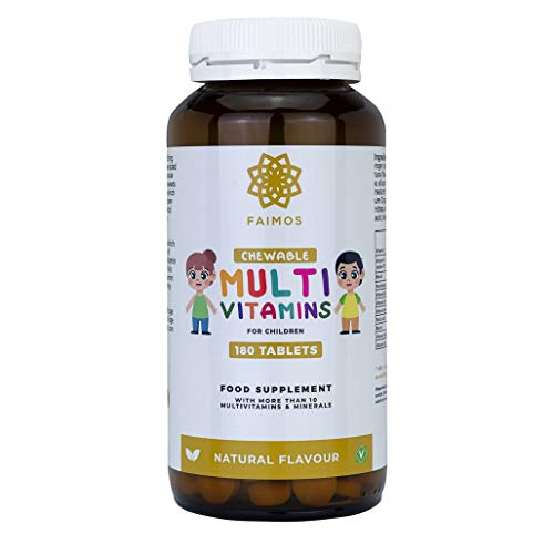Faimos Childrens Complete MultiVitamins & Minerals Formula - 180 Chewable Tablets - Natural Flavour No Sugar - Premium Quality