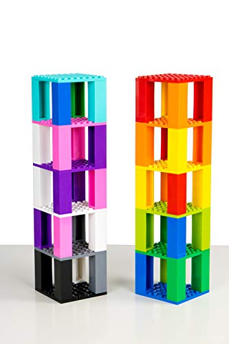 Classic Baseplates Mini Brik Tower & Cube 2 in 1 Set | Building Bricks & Blocks Compatible With All Major Brands | Ages 5+ STEM Toy | 12 Color Stackable 8x8 Base Plates, Stackers, 3D Briks | 72 Pieces