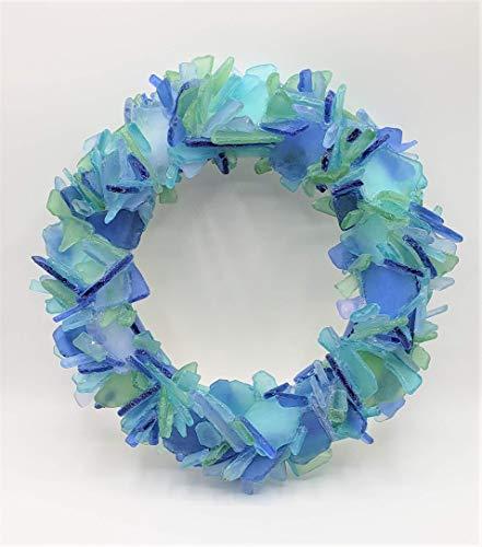 Beach Decor Sea Glass Wreath - Nautical Beach Glass Wreath, OCEAN MIX or Any Gorgeous Color, 12