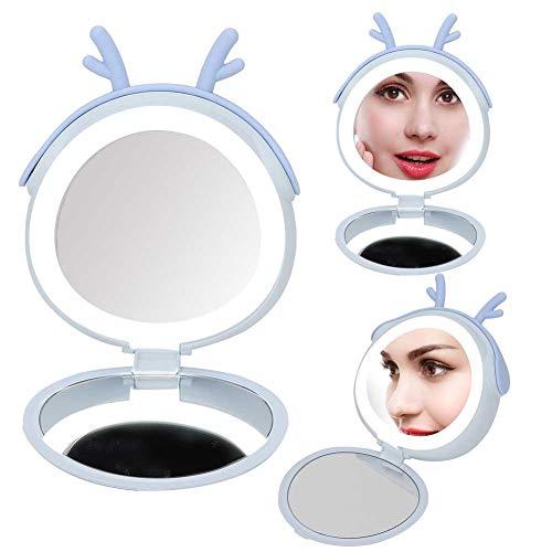 Power Bank met spiegel, 3000 mAh, draagbare oplader voor make-up, spiegel en USB LED-powerbank met LED-licht voor meisjes (4 kleuren) Blauw