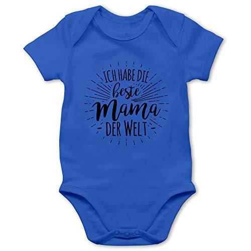 Sprüche Baby - Ich Habe die Beste Mama der Welt - 1/3 Monate - Royalblau - Baby Body Muttertag - BZ10 - Baby Body Kurzarm für Jungen und Mädchen