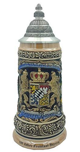 Zöller & Born Chope de bière Allemande étain Bavaria Armoiries nationales dans Le Panneau Central 0,5 litres ZO 1796-996