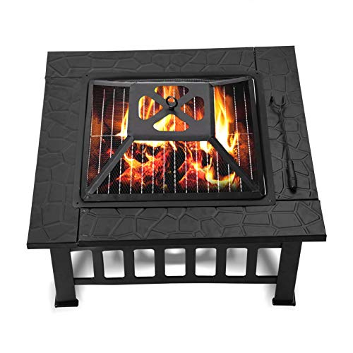 Large Fire Pit with BBQ Grill Shelf & Protective Grille, 81x81x45cm Square Table Multifunctional Outdoor Garden Patio Metal Fire Pit, Portable Fire Basket & Grill withwith Free Dust-Proof Cover