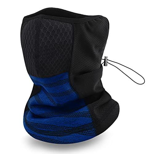 JNUYISW Braga para Cuello, Moto Calentador Multifuncional Polaina Cuello Bandana Elasticidad Máscara de Cuello Pasamontañas Unisex Gorro Invierno Ciclismo Correr Aire Libre Negro (Azul Real)