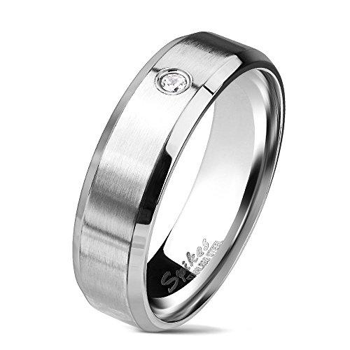 54 (17.2) Bungsa® Ring Edelstahl silber mit abgerundeten Kanten & gefasstem Kristall Damen & Frauen I Verlobungsring Ehering Freundschaftsring