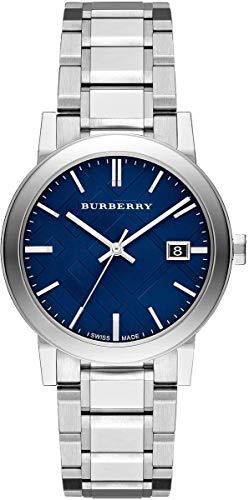 Reloj de pulsera unisex de 38 mm para hombre y mujer, de acero inoxidable, con esfera de fecha azul y plata suiza BU9031