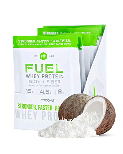 Fuel Whey Protein Powder by SFH | Great Tasting Grass Fed Whey | MCTs & Fiber for Energy | All Natural | Soy Free, Gluten Free, No RBST, No Artificial Flavors (Coconut (1lb Bag))