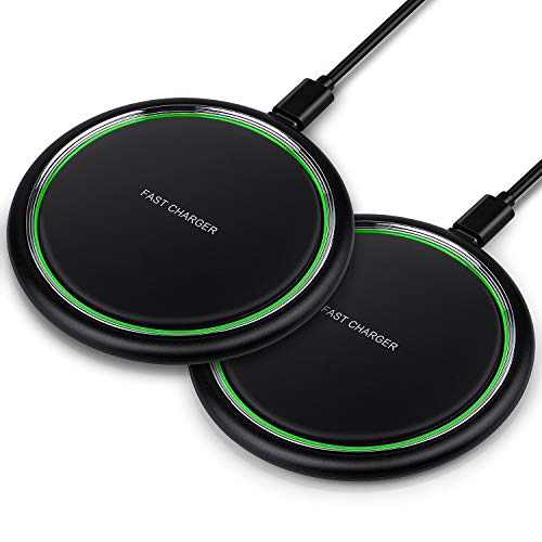 Wireless Charger, iSeekerKit 2 Pack 15W Max Fast Qi-Certified Wireless Charging Pad Compatible for iPhone 11 Pro/XR/XS/X/8, Galaxy S10/S10e/Note10/9, Google Pixel 3/3XL, LG V30 V40(No Adapter)