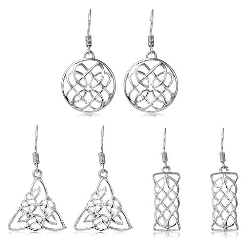 Dangle Celtic Knot Earrings for Women - 3 Pairs Drop Leverback Earrings with Cross, Triquetra, Round, Rectangle, Tree, Love Heart, Rhombic Shaped (Silver Round, Triangle and Rectangle Earrings)