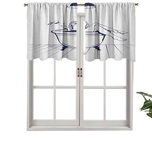 Hiiiman Cortina de ventana para filtrar luz, cenefa de bolsillo para la cenefa, joven y hermosa mujer relajante en el baño con cristal, juego de 1, 91 x 45 cm para dormitorio, cocina o baño ventanas