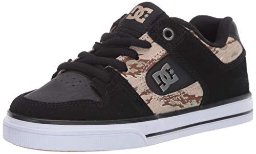 DC Boys' Pure SE Skate Shoe, Black/Camo Print, 6.5 Medium US Big Kid