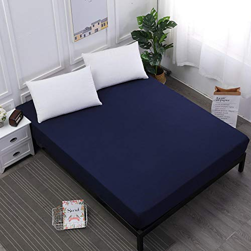 XGguo Protector de colchón, con Aloe Vera, (Todas Las Medidas) Sábana Impermeable de Color Puro para Aislamiento de orina-Azul Marino_180cmX200cmX30cm