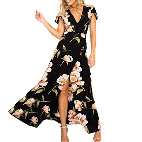 Vectry Maxikleid Damen Kurze Ärmel Chiffon Sommerkleider Elegant Blumen Lang Kleid Strandkleid(Schwarz,Small)