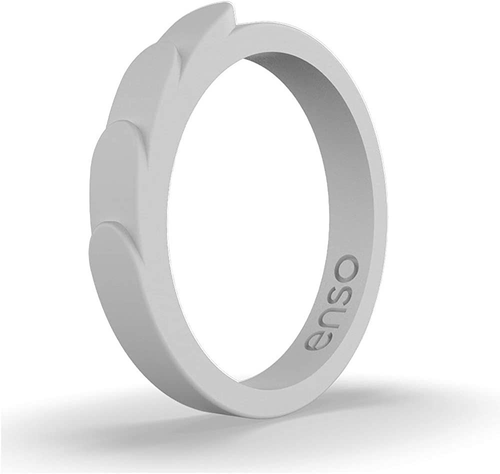 Enso Rings Feather Stackable Silicone Wedding Ring Comfortable Minimalist Band Hypoallergenic Unisex Stackable Wedding Band .8mm Thick 2.5mm Wide