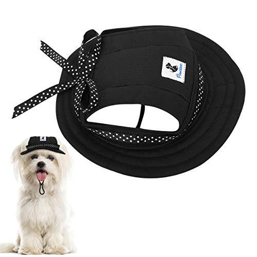 Pawaboo Prinzessin Hundemütze, Runde Krempe Hundekappe Hut Sonnenhüte aus Oxford Gewebe mit Verstellbare Kinnriemen Ohrlöchern für Reise Sonnenschutz oder Festival Schmückung im Freien, Schwarz