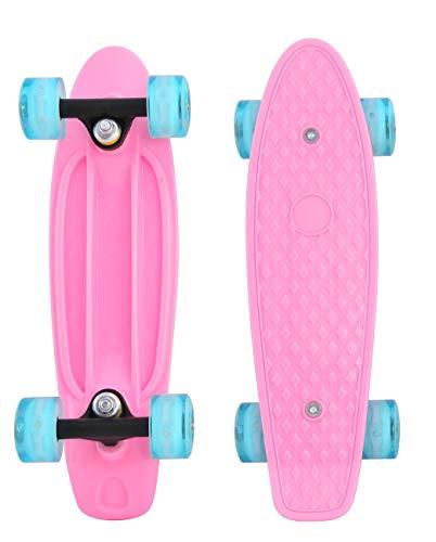 CyBoard 17inchX5inch Pink Mini Skateboard, Mini Cruiser Board with Soft PU Wheel