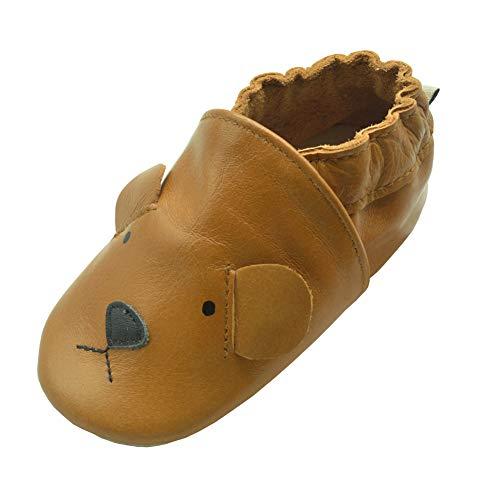 iEvolve Baby Babyschuhe Wildledersohle Baby Lederschuhe Lauflernschuhe Krabbelschuhe Vielzahl Art(Braun Bär,12-18 Monate)