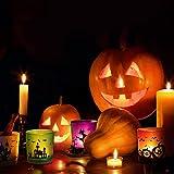 MJ PREMIER Halloween Teelichthalter, 6 Stück Kerzenhalter 7x7x8 cm Halloween Dekoration, Kürbis und Hexe Windlicht, Teelichtgläser für Halloween Deko, Tischdeko, Party, Geschenk - 4