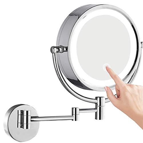 FeelGlad Kosmetikspiegel LED Beleuchtet, 1x/5x Fache Vergrößerung Touchscreen mit USB Wandmontage Zweiseitig Beleuchteter Kosmetikspiegel, 360° Schwenkbar und Befestigen Ohne Bohren,Metall Verchromt