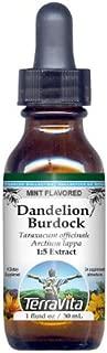 Dandelion Root and Burdock Root - Glycerite Liquid Extract (1:5) - Mint Flavored (1 fl oz, ZIN: 428288) - 2 Pack