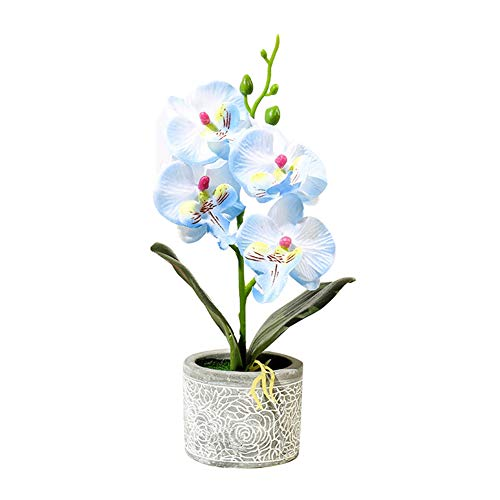 perlo33ER Künstliche Blume Bonsai Ornamente, 1 Stück Künstliche Blume Schmetterling Orchidee Zement Topf Bonsai Hausgarten Party Decor Blau
