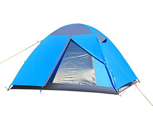 Lelly Q 3-4 Person Backpacking Tent Double Layer Waterproof Family Tent Camping Hiking Travel Beach (Blue)