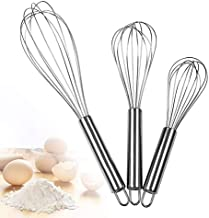 Molizummy 3 Packs Stainless Steel Wire Whisks Set, Sturdy Durable Hand Blender Balloon Kitchen Utensils Set Aid Mixers Egg Whisk for Cooking, Beating, Stirring, Baking, Dishwasher Safe (3 Sizes)