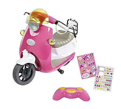 Zapf Creation 826133 BABY born City RC Scooter Puppenroller mit Fernsteuerung und Lichteffekten, Puppenzubehör 43 cm, pink/weiß, Online Verpackung
