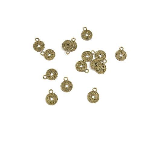70 PCS Ancient Antique Bronze Fashion Jewelry Making Crafting Charms Findings Bulk for Bracelet Necklace Pendant Retro Accessoires Lots Vintage X6OP6B Chinese Cash Coins