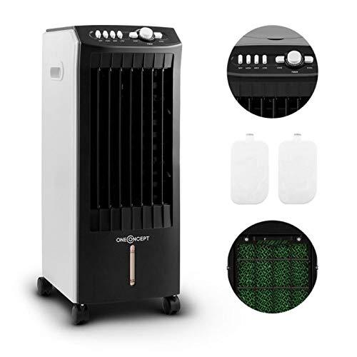 OneConcept MCH-1 V2-3-in-1 Luftkühler Ventilator Luftbefeuchter 7 Liter 360 m³/h 65 W, 3 Leistungsstufen, Oszillation, DREI Windgeschwindigkeiten, Bodenrollen, 2 austauschbare Kühlakkus, mobil