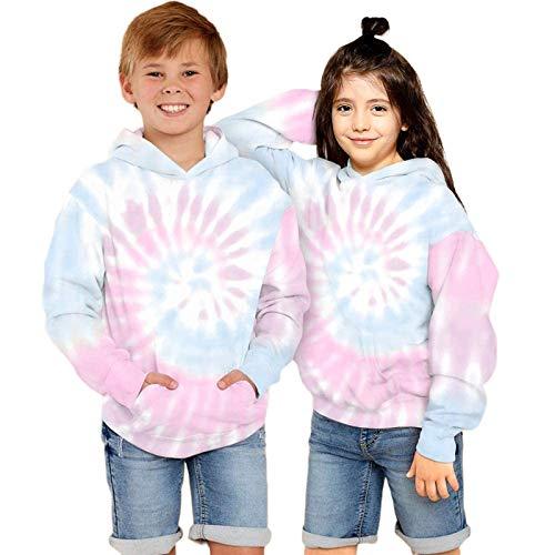 Anwind Jungen und Mädche Hoodie Tie Dye Gedruckt Kapuzenpullove Unisex Kinder Casual Langarm Sweatshirt mit Kapuze mit Taschen Pullover für Kinder (Colourful - 2,S (125-130cm))