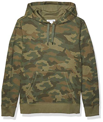 Amazon Essentials Men's Hooded Fleece Sweatshirt, Green Camo, Small