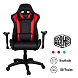 Cooler Master Caliber R1 Gaming Chair High-Back Office Computer Game Chair, PU Leather Reclining Ergonomic Backrest, Seat Height and Armrest Adjustment with Headrest and Lumbar Support - Red