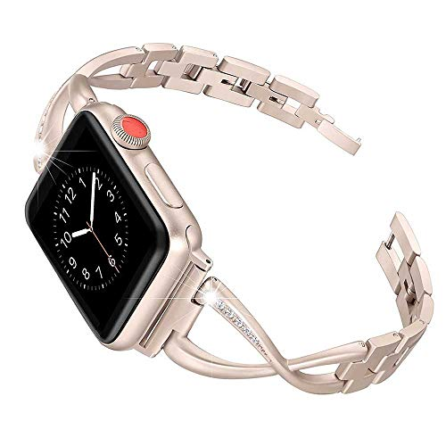 Laiwu - Correa compatible para Apple Watch, 38 mm, 42 mm, correa de metal, repuesto de 38 mm, oro rosa
