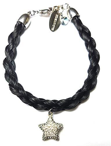 Schwarzes Pferdehaar Armband mit Swarovski Stern in silber//Länge 17.5 cm Durchmesser 0,5cm