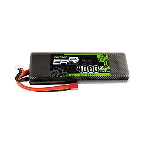 OVONIC Batteria 2S LiPo 4000mAh 50C 7.4V Lipo con connettore XT60 per RC Car Buggy Team Associated
